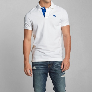 ABERCROMBIE - HERBERT BROOK POLO - WHITE AND BLUE