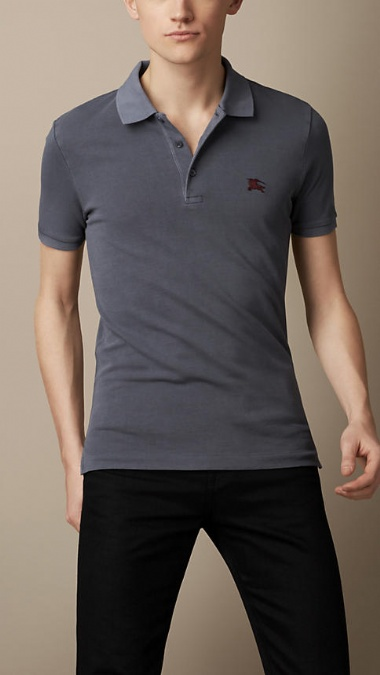 BURBERRY - COTTON JERSEY DOUBLE DYED POLO SHIRT - STEEL BLUE