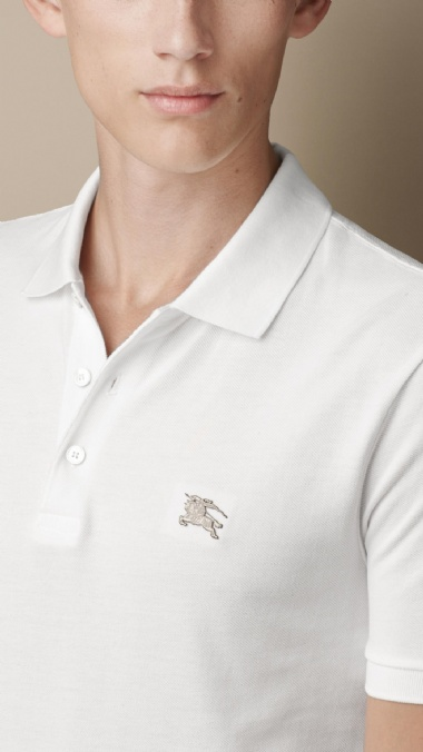 BURBERRY - COTTON JERSEY DOUBLE DYED POLO SHIRT - WHITE