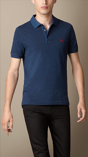 BURBERRY - COTTON JERSEY DOUBLE DYED POLO SHIRT - NAVY