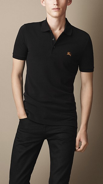 BURBERRY - COTTON JERSEY DOUBLE DYED POLO SHIRT - BLACK