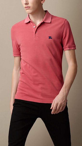 BURBERRY - COTTON JERSEY DOUBLE DYED POLO SHIRT - PALE ROSE PINK
