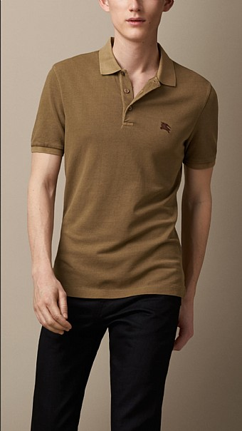 BURBERRY - COTTON JERSEY DOUBLE DYED POLO SHIRT - SAND BROWN