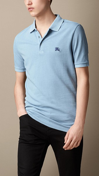 BURBERRY - COTTON JERSEY DOUBLE DYED POLO SHIRT - SKY BLUE