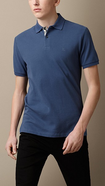 CHECK PLACKET POLO SHIRT - LIGHT STEEL BLUE