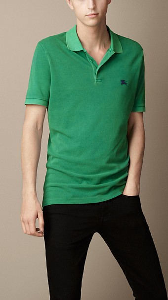 BURBERRY - COTTON JERSEY DOUBLE DYED POLO SHIRT - VIBRANT GREEN